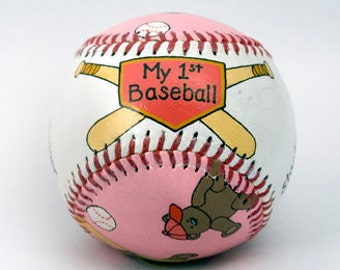 Babys First Baseball, Newborn Gift, Baby's birth information, Personalize Baby Gift, Baby Girl, Baby Shower (BB02)