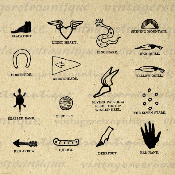 Native American Indian Symbols Graphic By Vintageretroantique