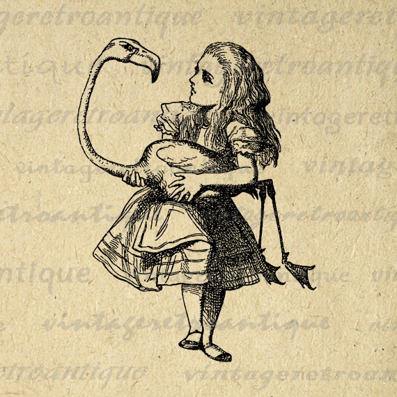 vintage clip art alice in wonderland - photo #27