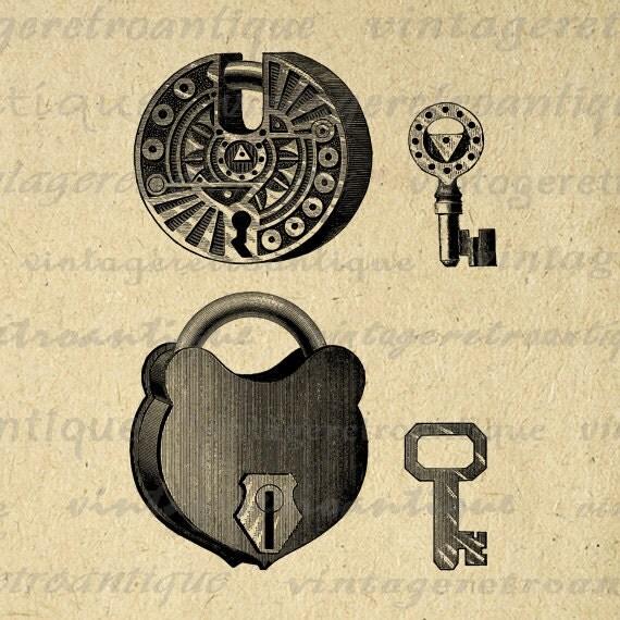 Lock And Key Image Padlock Download Digital Artwork Vintage Clip Art