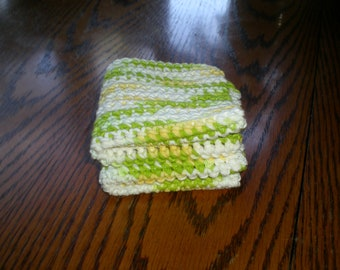 Lime Green Yellow and White Crocheted Dishcloth Set of 2/Lime Green Crocheted Dishcloths/Multi Color Green and Yellow Washcloth Set