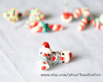 Sale Christmas Snowman Earrings, Chomper Earrings, Christmas Snowman