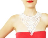 Yericia // FREE SHIPPING // Handmade White Crochet Cotton Lace Collar Necklace Applique Blouse Accessories Bib NecklaceBLACK FRIDAY