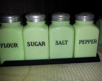 Mint Vintage Jeannette Jadeite Salt, Pepper, Flour & Sugar Range Set