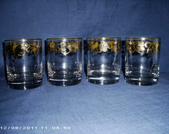 Set of 4 Beautifully Hand Painted Vintage Tumbler Glasses