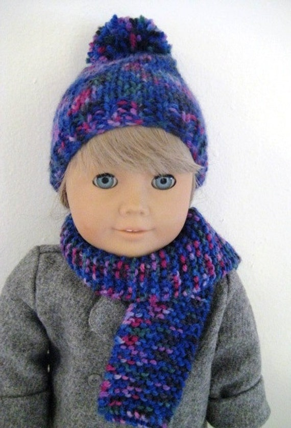 American Girl Hand Knit Snuggy Pom Pom Hat and Scarf, Bright Purple and More