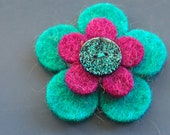 tuquoise magenta and blue sparkles felt pin - badge