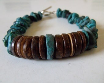 Mens bracelet made with turquoise & coconut shell, men's turquoise jewelry, men's turquoise bracelet, men's shell jewelry, coconut shell