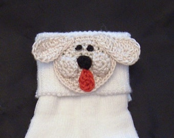 Baby Infant Toddler Boys Girls Puppy Dog Socks - Handmade Puppy Dog Face - sizes 3 6 9 12 18 24 months 2 3 4 years and Larger