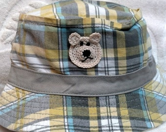 Boys Toddler Fishing Bucket Hat - Handmade Teddybear Face -  Grey, Blue, Yellow Plaid - Sizes 12-24  months, 2T-3T, 4T-5T