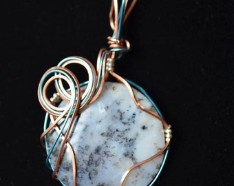 Copper and blue wire with wood opal (JSP031)