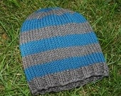 Blue and Grey Striped Hat: Size 12 months