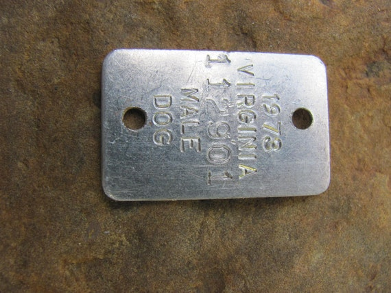 Vintage Dog Tag - One Tag, Dog Tag, Vintage Tag, Metal Dog Tag, Jewelry Dog Tag, Jewelry Supply,