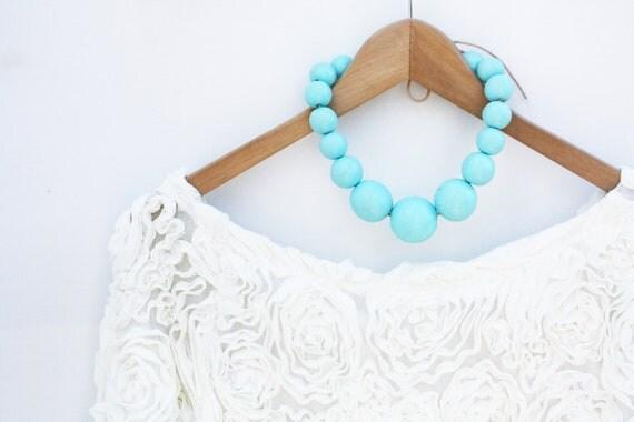 Tiffany glow - aqua blue wooden necklace, chunky, statement, wood round beads