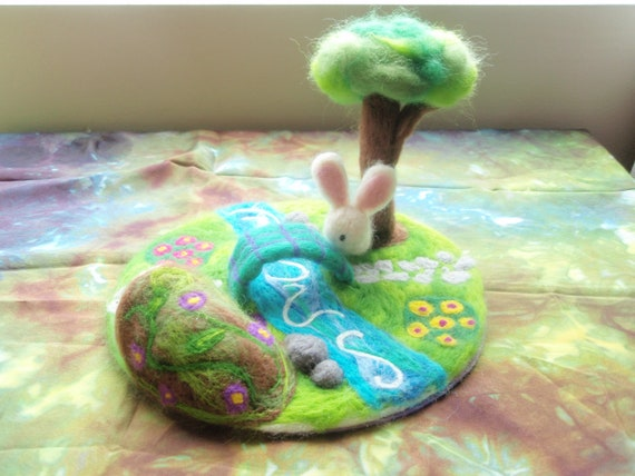 Fun Needle Felted Playmat with Bunny