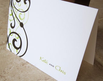 Wedding Thank You Personalized Swirl Couples Note