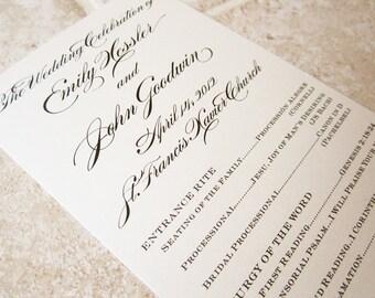 Formal Wedding Program - Floral Script Tea Length - Deposit
