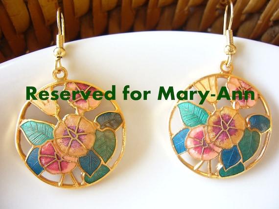 Handmade earrings, dangle earrings, enamel earrings, gold plated earrings, flower earrings