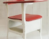 Vintage American Seating Company Child's School Desk - painted red and white