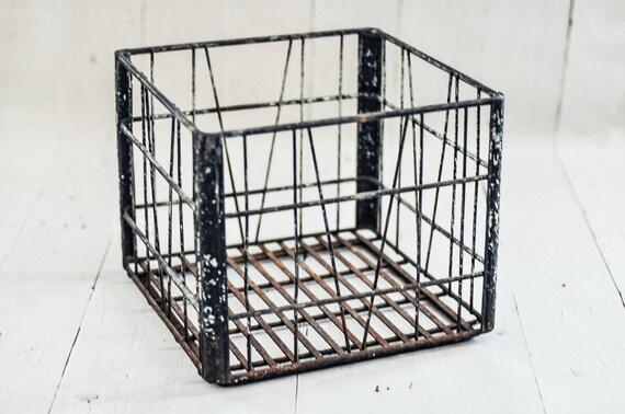 Beautiful Vintage Galvanized Metal Milk Crate - photo prop