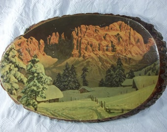 Vintage, Decopauge, Rustic, Winter Landscape, on Wood