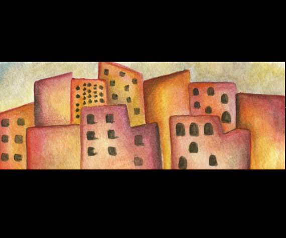 Watercolor Fine Art Print / Dusty Cityscape / Several Size Options