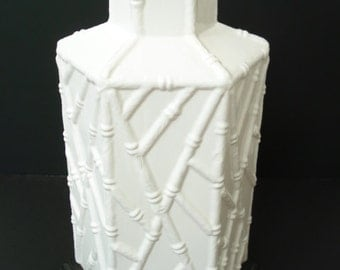 Hollywood Regency White Ceramic Faux Bamboo Lamp Mid Century Modern