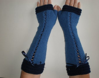 Handknitted long blue with dark blue accent color women fingerless gloves / wrist warmers victorian style