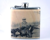 Customized with your art Flask on a real wood wrapped flask-memorial gift. Great gift for son, new dad, memorial gift