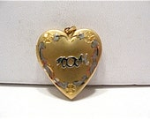 Vintage 14k Gold Filled Heart Locket MOM 18 x 20 mm  3.3 grams   #98