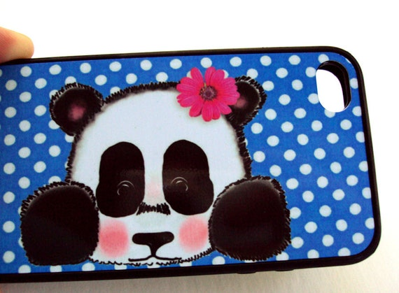 Cute Baby Panda iPhone 4 S Cover  Poka Dots