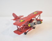 Red  miniature aeroplane, vintage red biplane replica, movable propeller, collectible, tiny, Chinese plane miniature, mid nineties