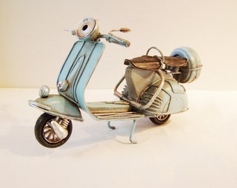 Turquoise Vespa bike, vintage, collectible, retro miniature, tin and rubber, blue Vespa scooter, early nineties metal Vespa gift