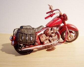 Scarlet red bike, vintage, retro collectible, Harley type, miniature motorbike,alloy, miniature bike, shabby style red bike