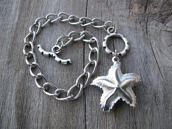 Upcycled Silver Starfish Bracelet with Toggle Clasp, Charm Bracelet, Eco-Friendly Jewelry, Fun Beach Jewelry, Layering Bracelet