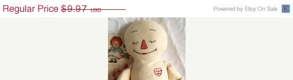 """SALE-- Raggedy Ann, Annie, Andy, Andrew - Unfinished, no clothing, no hair - approx 18"""" tall - Primitive, Folk Art, Cloth Doll, Vintage"""