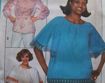 1970s Vintage  Pattern  Simplicity  8206  Miss Size 8 or 12 Jiffy  Pullover Tops