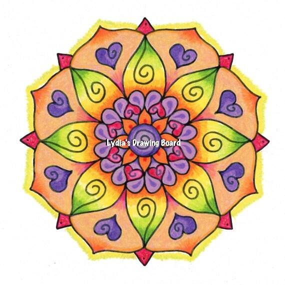 Mandala Art, Mandala Wall Art, Mandala Print, Mandala, Meditation Art, FlowerArt,  Heart, Heart Art, Yoga Studio Decor, Hippie, Peaceful Art