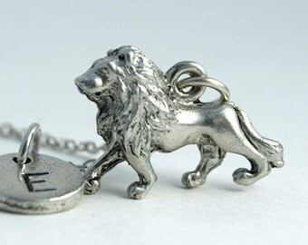 Lion necklace, Silver lion charm jewelry, Silver lion necklace, Animal charm, Safari animal, initial necklace, personalized, monogram
