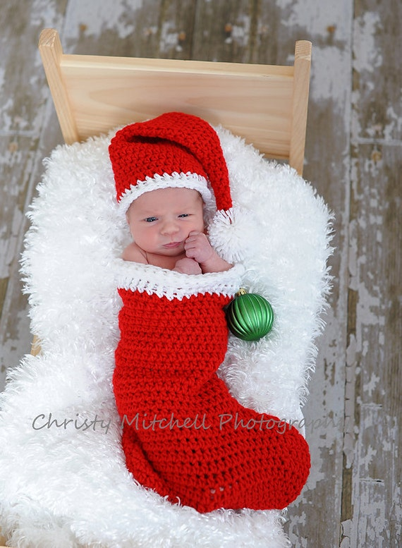 PATTERN Christmas Stocking and Santa Hat - Crochet