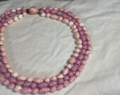 Vintage 3 Strand Pink and Purple Necklace