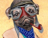 Pipe Smoking Pug  - PRINT ARTWORK