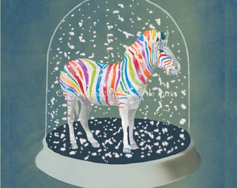Print Illustration Art Poster Acrylic Painting Kids Decor Drawing Gift : Rainbow Zebra in Snow Globe