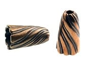 Pair of Bronze Stylish Twirl End Caps/Cones able to be used for Kumihimo Projects (Solid Bronze)