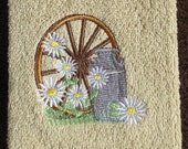 Embroidered Hand Towel With Wagon Wheel, Daisies, And Milk Can