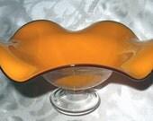 Hollywood Regency Tangerine Yellow Orange Ruffled Edge Vintage Murano Art Glass Pedestal Compote Bowl