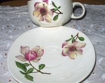 Delmar Diana Pink Magnolia Cup and Saucer Set Vintage 1940s Discounted Pattern Iva Lure Crooksville Tableware