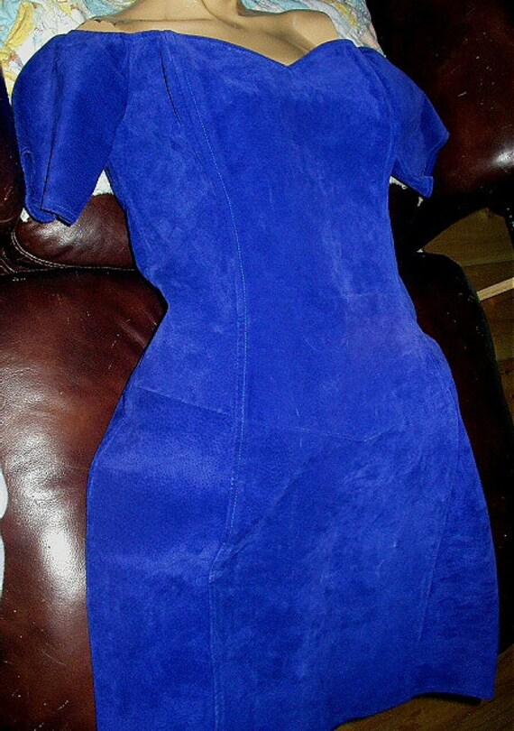 Womans Flattering Brazen Royal Blue Suede Dress-Size 11/12 Gorgeous