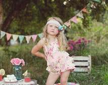 SALE...Buy 2 get 1 Free...Instant Download PDF Sewing Pattern Girl's Retro Ruffled Reversible Romper Sunsuit 6-9M to 6