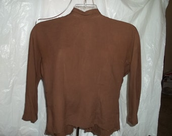 SALE!!!  1940s vintage brown jersey Tabak top